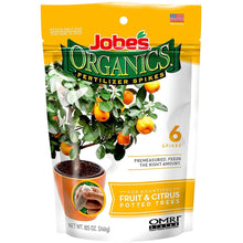 Load image into Gallery viewer, Jobe's Organics Fruit & Citrus Tree Fertilizer Spikes, 3-5-5 Time Release Fertilizer for All Container or Indoor Fruit Trees, 6 Spikes per Package