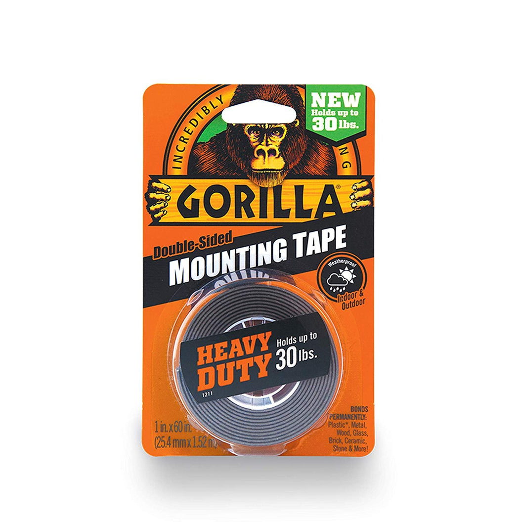 Gorilla Heavy Duty Double Sided Mounting Tape, 1 Inch x 60 Inches, Black