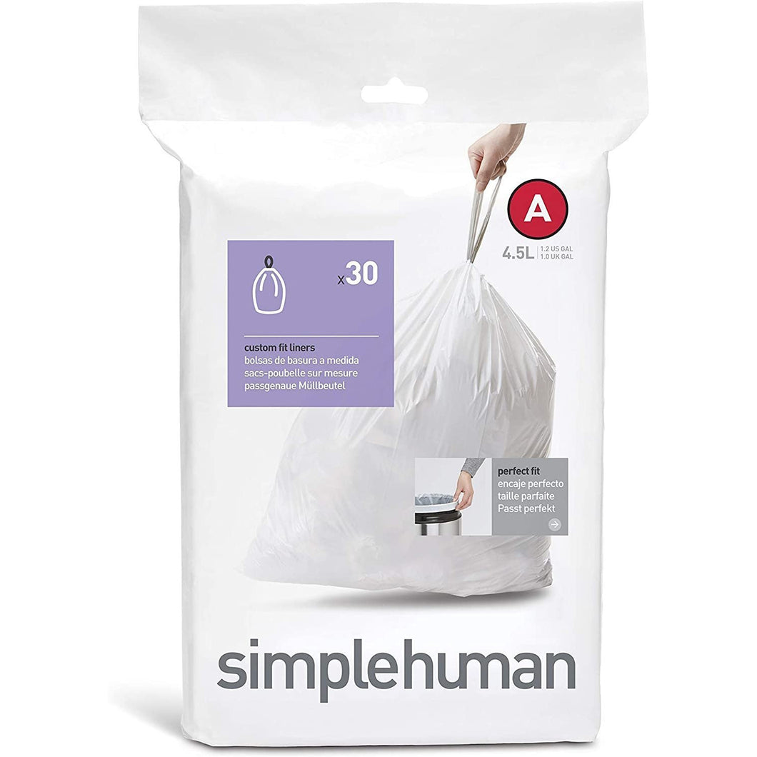 simplehuman code A custom fit liners, (30 liners), 4.5 L/1.2 gallon, White