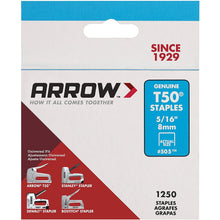Load image into Gallery viewer, Arrow Fastener 505 Genuine T50 5/16-Inch Staples, 1,250-Pack