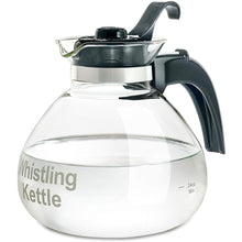 Load image into Gallery viewer, CAFÉ BREW COLLECTION High End Borosilicate Glass Stove Top Whistling Tea Kettle - Best BPA Free Kettle - Best Heat Resistant Glass Tea Kettle - 12 Cup Stovetop Glass Whistling Tea Kettle by Medelco