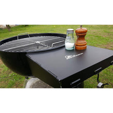 "Load image into Gallery viewer, BBQ Dragon Grill Table Fits 22"" Weber Charcoal Grills, Weber Grill Table, Weber Kettle Grill Accessories, Steel BBQ Table Folds to Store Inside Barbecue Grill"