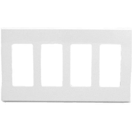 Leviton 80312-SW 4-Gang Decora Plus Wallplate Screwless Snap-On Mount, White