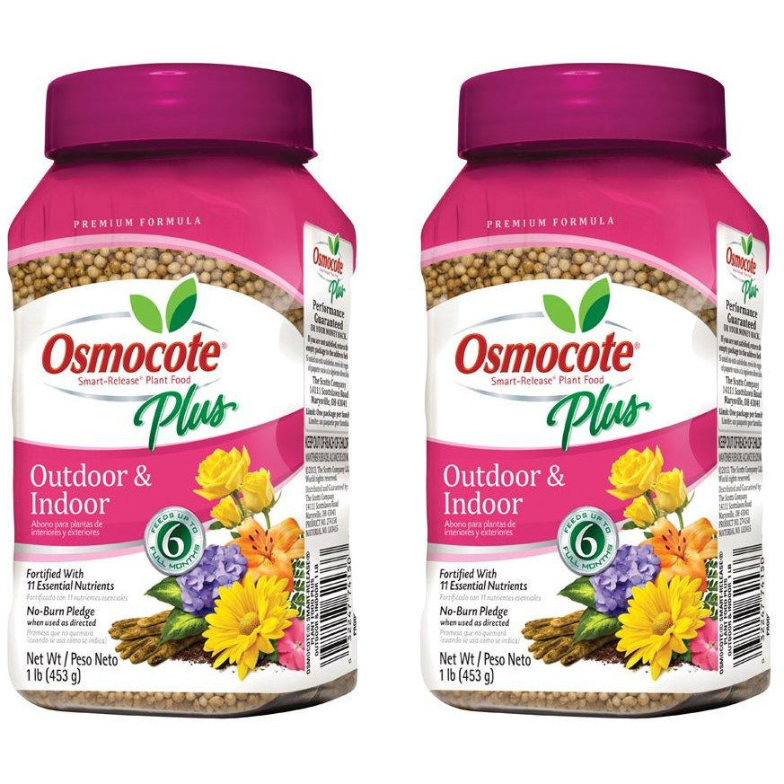 Osmocote Plus Outdoor and Indoor Smart-Release Plant Food, 1-Pound (Plant Fertilizer) - Pack of 2