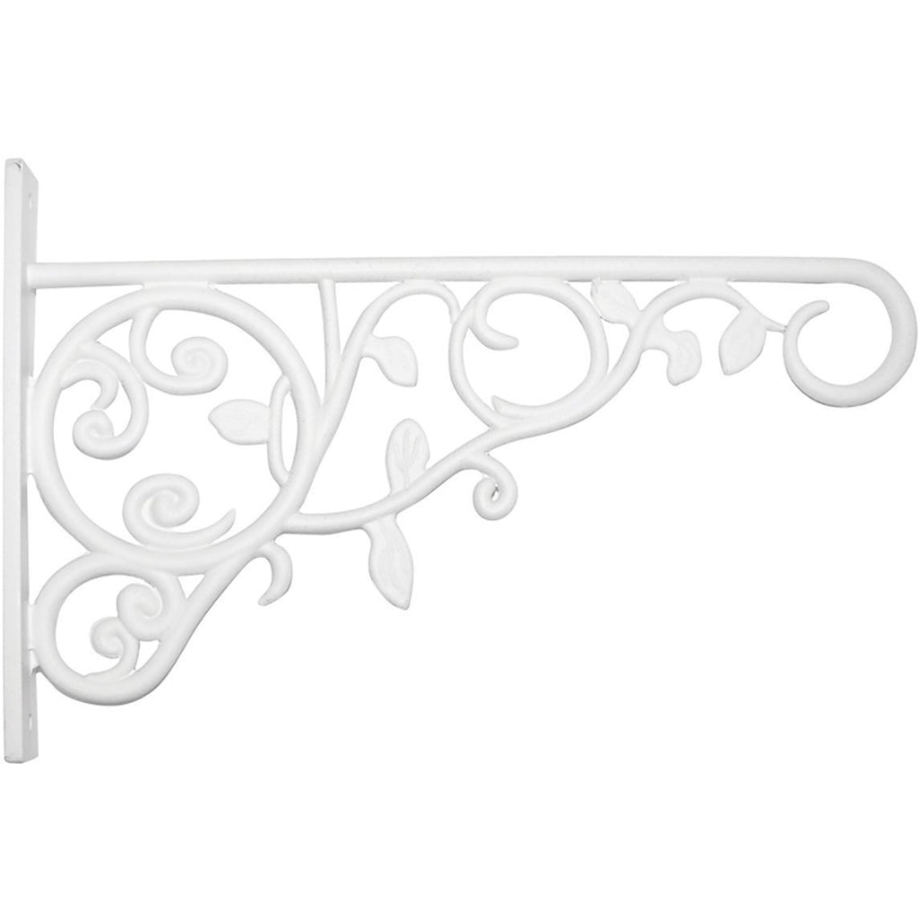 Panacea 100057107 Plant Bracket with Leaves, White, 9""