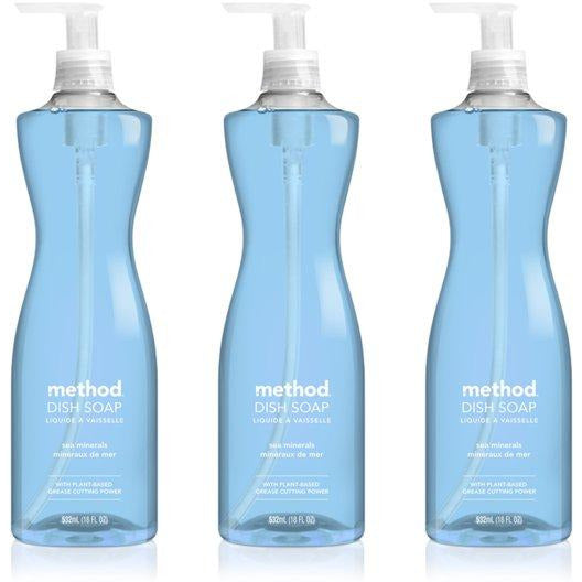 Method Naturally Derived Dish Soap Pump, Sea Minerals, 18 Fl Oz (Pack of 3)