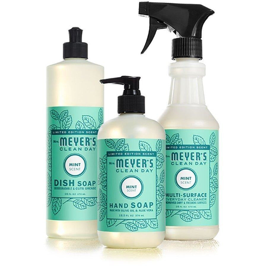 Mrs. Meyer's Clean Day Mint Kitchen Basics Set Limited Spring Edition 3 items - (1) Dish Soap, (1) Hand Soap, (1) Everyday Cleaner