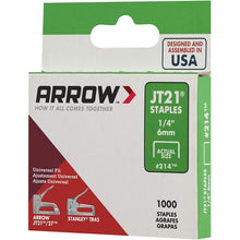 Load image into Gallery viewer, Arrow Fastener 214 Genuine JT21 1/4-Inch Staples, 1,000-Staples