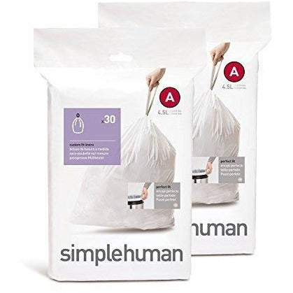 simplehuman Custom Fit Trash Can Liner A, 4.5 Liters / 1.2 Gallons, 30-Count (Pack of 2)
