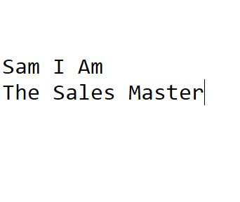 Sam I Am The Sales Master