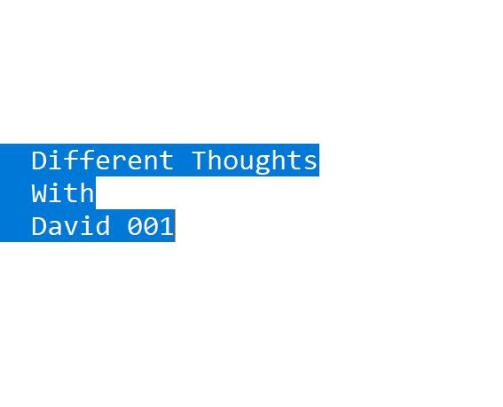 Different Thoughts with David