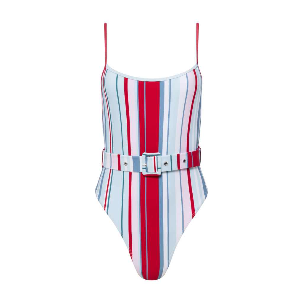 Carter Belted One Piece Retro Stripe