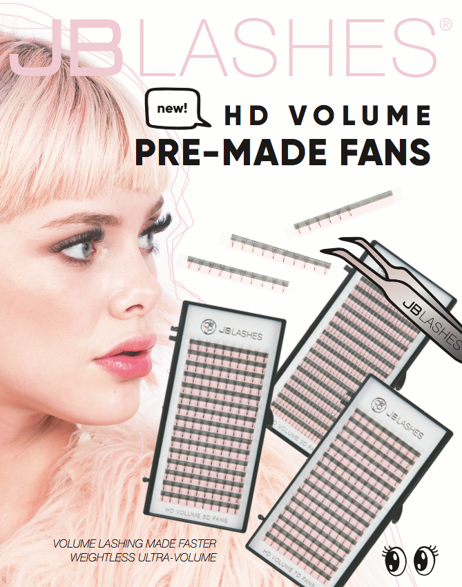 JB LASHES HD VOLUME PRE-MADE 3D FANS - D-CURL .07MM (300 Cluster)