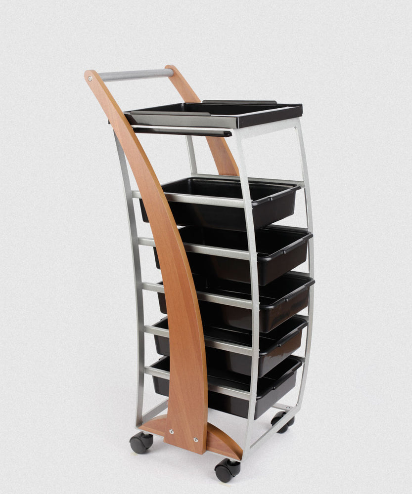 NP SALON TROLLEY WOOD ACCENT