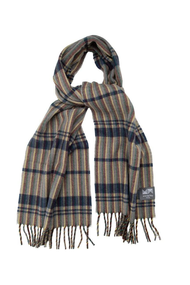 Waverley Mills 18 Micron;Scarf Superfine Wool Scarf Light Grey Stripe