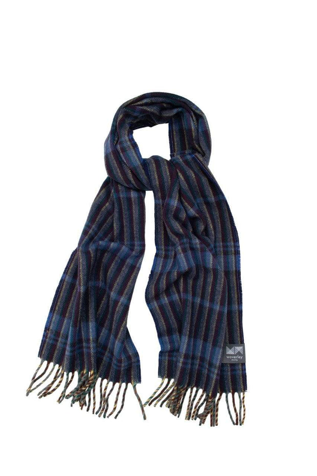 Waverley Mills 18 Micron;Scarf Superfine Wool Scarf Navy Stripe