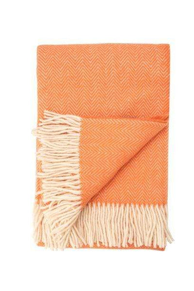 Waverley Mills 18 Micron;Throw Herringbone Superfine Wool Throw Bright Orange