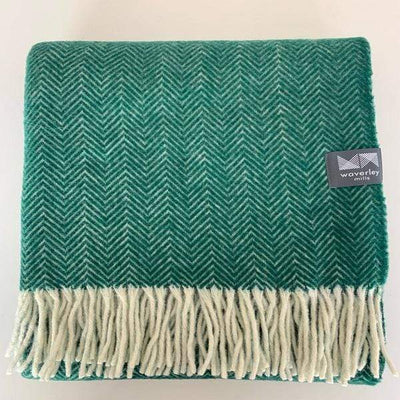 Waverley Mills 18 Micron;Throw Herringbone Superfine Wool Throw Forest Green