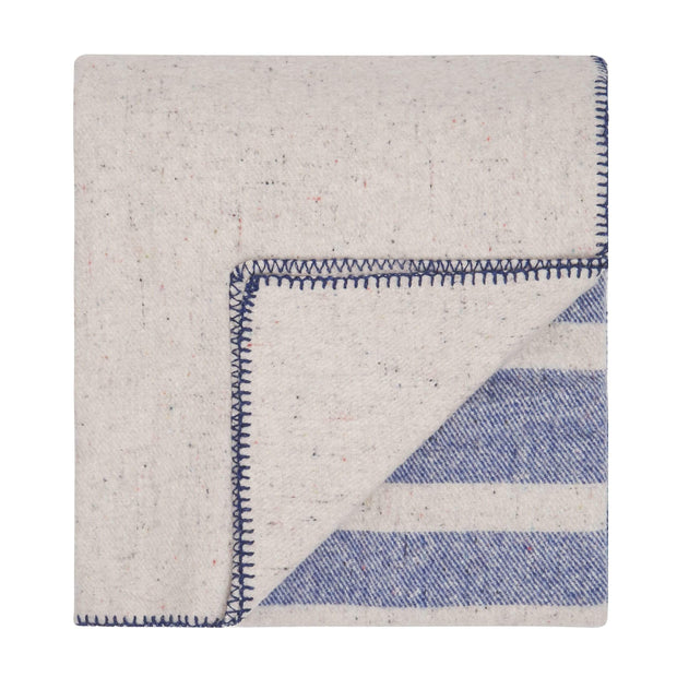 Waverley Mills Blanket Recycled Cabin Blanket Blue Stripe King Single