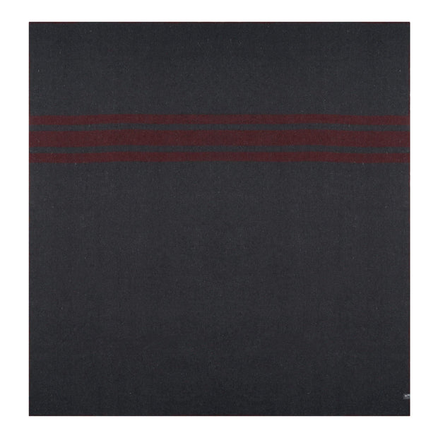 Waverley Mills Blanket Recycled Cabin Blanket Charcoal with Red Stripe King Single