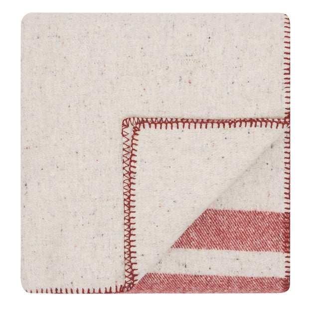 Waverley Mills Blanket Recycled Cabin Blanket Red Stripe King Single