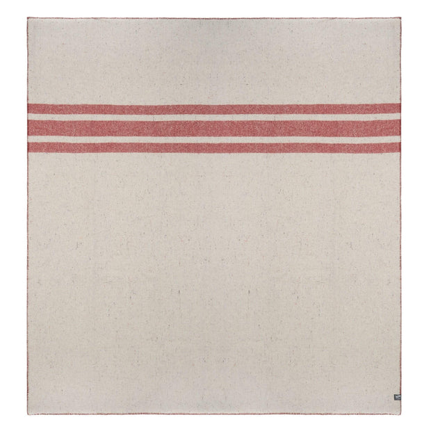 Waverley Mills Blanket Recycled Cabin Blanket Red Stripe Queen