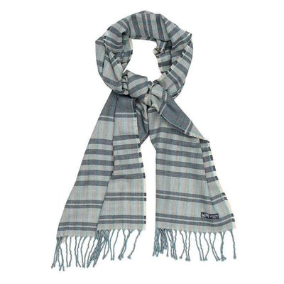 Waverley Mills Cotton/Wool;Scarf Cotton/Wool Stripe Scarf Aqua Grey