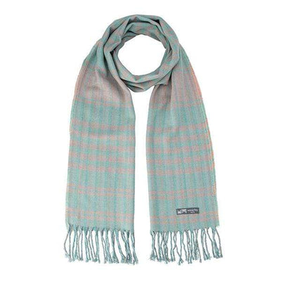 Waverley Mills Cotton/Wool;Scarf Cotton/Wool Stripe Scarf Aqua Pink