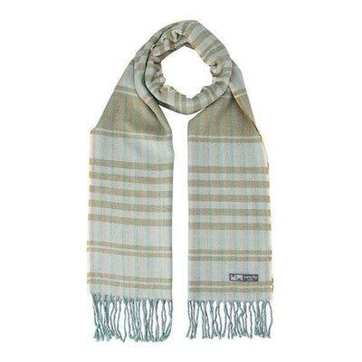 Waverley Mills Cotton/Wool;Scarf Cotton/Wool Stripe Scarf Tan Green