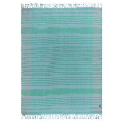 Waverley Mills Cotton/Wool;Throw Cotton/Wool Throw Block Stripe Green
