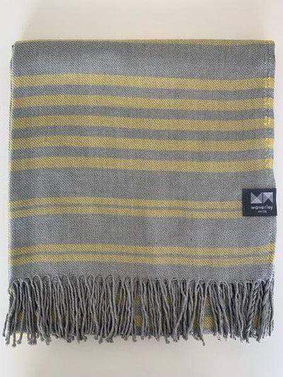 Waverley Mills Cotton/Wool;Throw Cotton/Wool Throw Yellow Stripe
