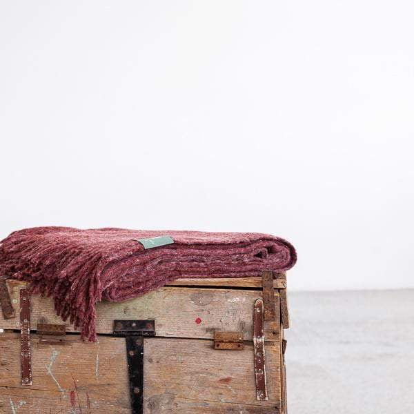 Waverley Mills Recycled;Throw Recycled Fringed Throw Ruby Wine