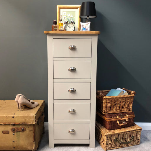 Sutton Oak 5 Drawer Narrow Chest