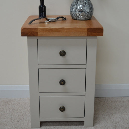 Swainswick Painted Oak 3 Drawer Bedside Cabinet