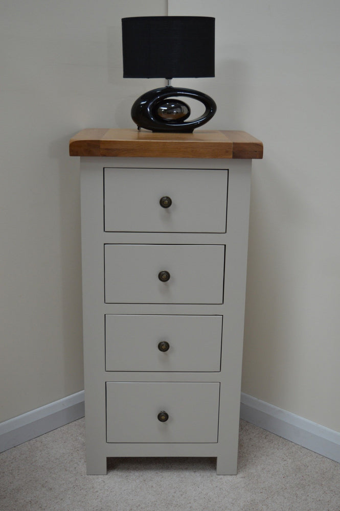 Swainswick Painted Oak 4 Drawer Narrow Chest of Drawers