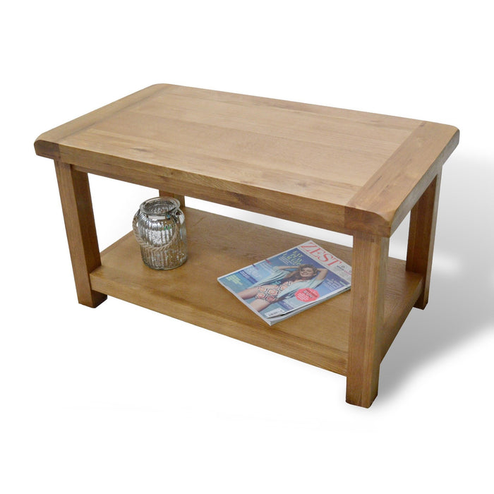 Beaufort Oak Chunky Coffee Table With Shelf