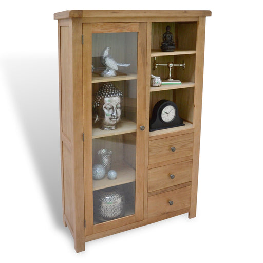 Beaufort Oak Combination Display Cabinet With Storage And Glass Door