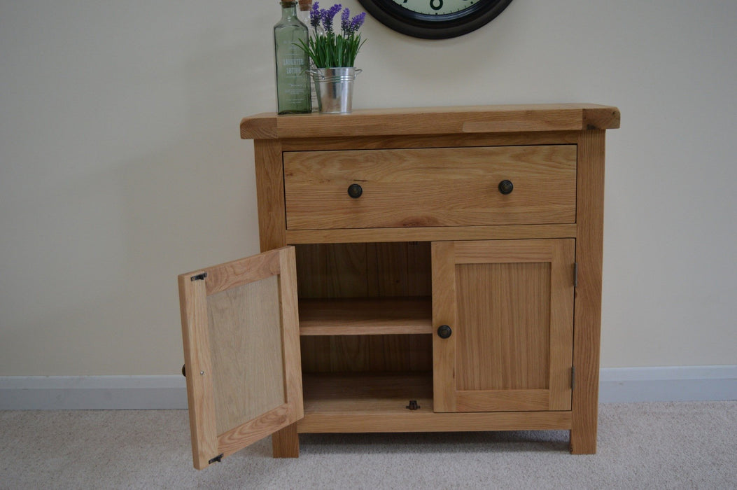 Beaufort Oak Mini Oak Sideboard 1 Drawer 2 Cupboard Rustic Storage Dresser