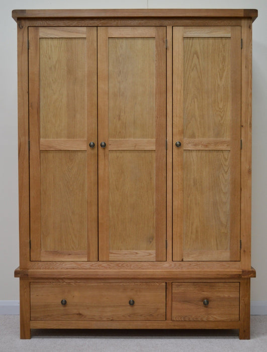 Beaufort Oak Triple Wardrobe with Storage Drawers