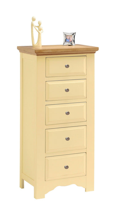 Devon Painted 5 Drawer Narrow Tallboy Chest of Drawers