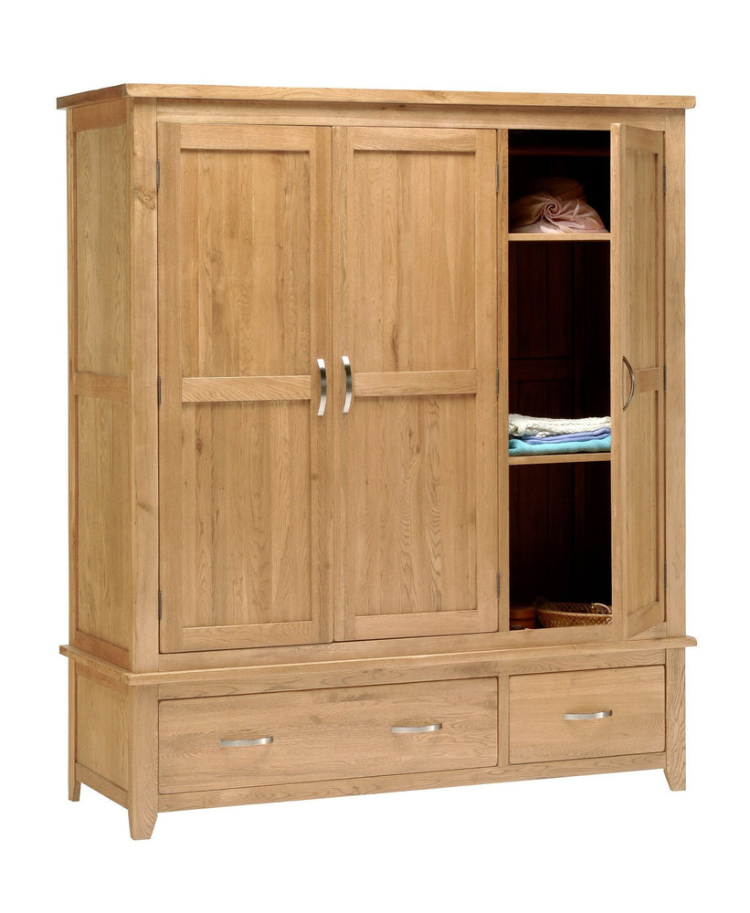 Oakland Country Oak 3 Door Triple Wardrobe