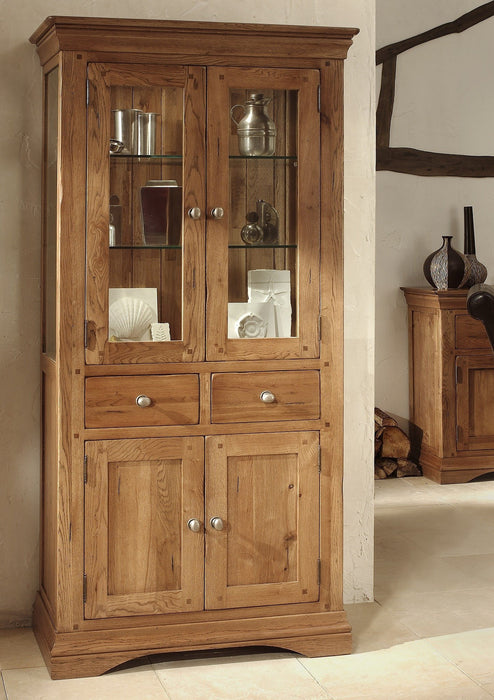 Brittany Oak And Glass Display Cabinet
