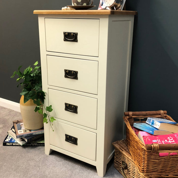 Padstow Painted 4 Drawer Narrow Chest of Drawers