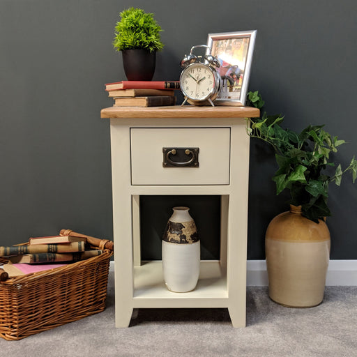 Padstow Painted Oak Bedside Lamp Table