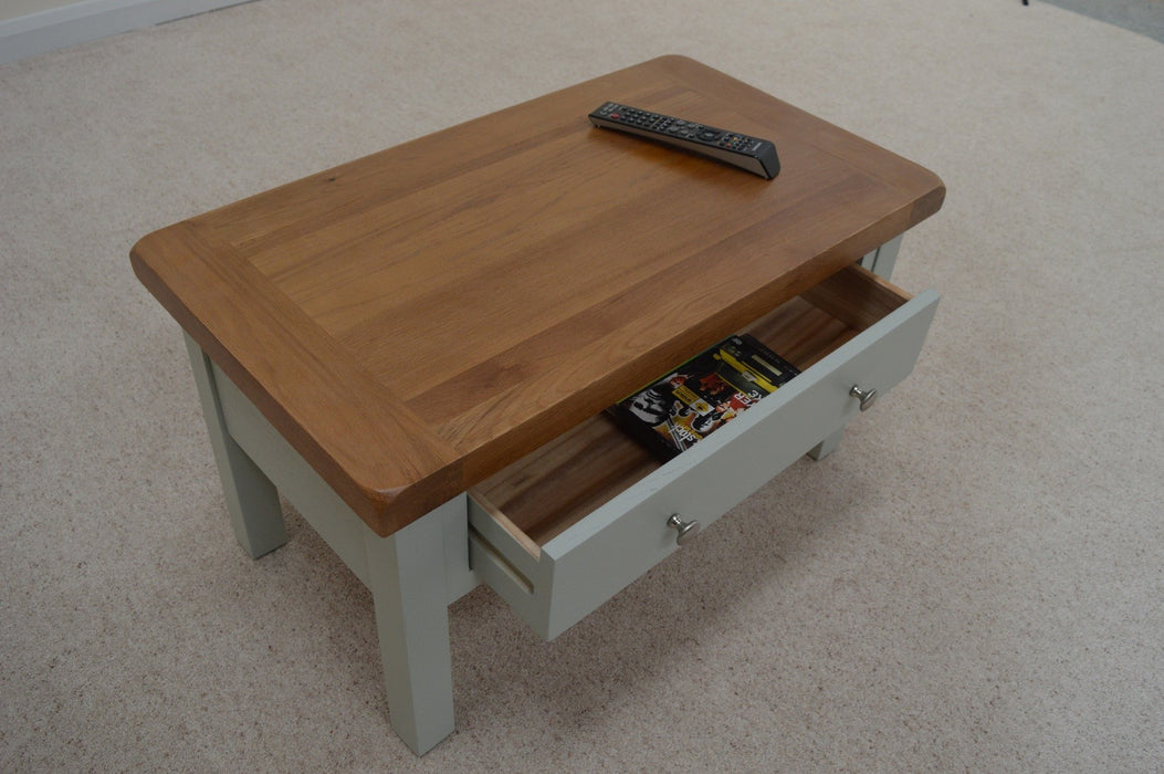Camborne Painted Oak Coffee Table With Storage Drawers