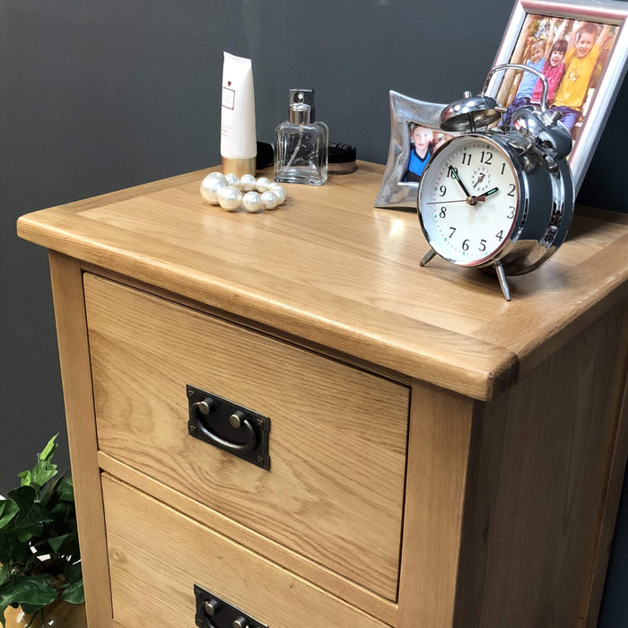 Grange Oak 4 Drawer Narrow Chest of Drawers