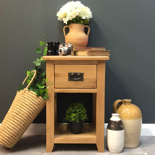 Grange Oak Bedside Lamp Table