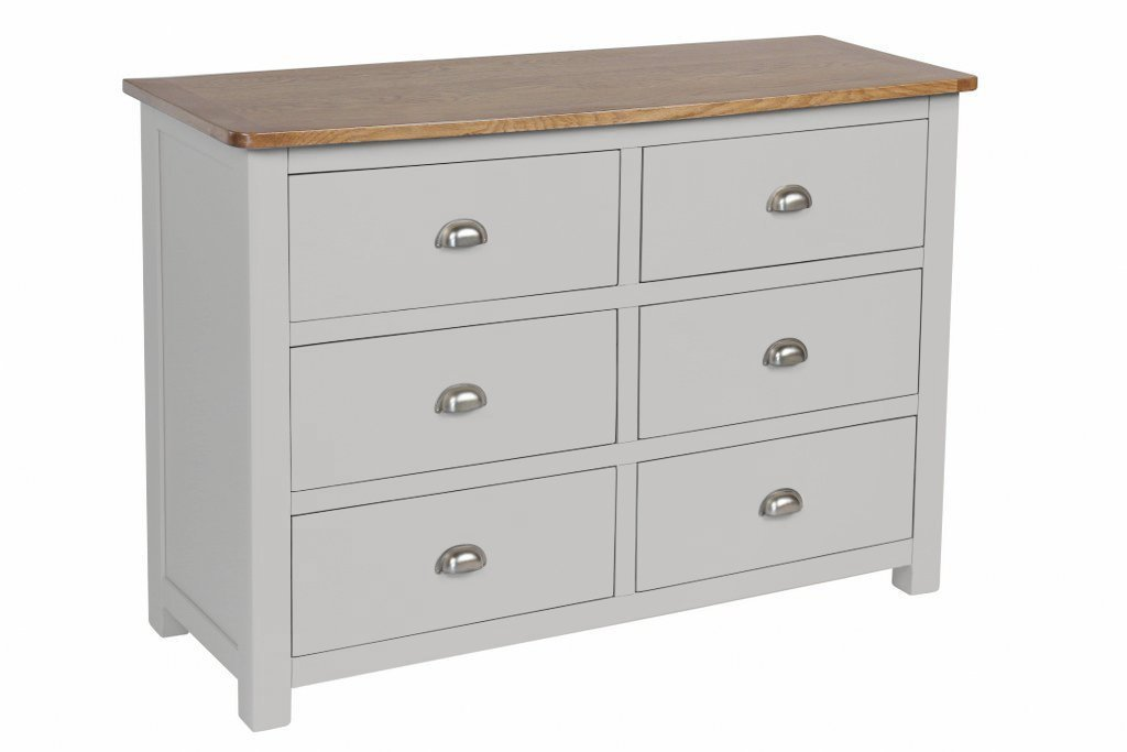 Portland Oak 6 Drawer Long Chest Of Drawers