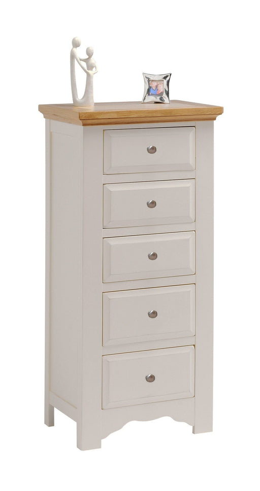 Norfolk Painted 5 Drawer Narrow Tallboy Chest of Drawers