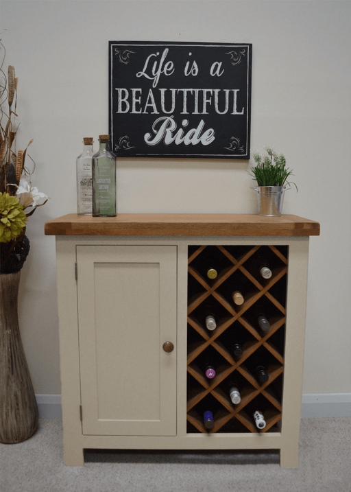 Croft Painted Oak Wine Rack With Storage